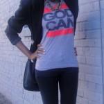 Ebony woman wears a blazer and a nice t-shirt