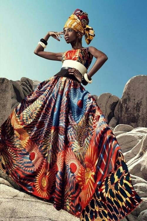 frican fashion : wonderful colored dress by Vlisco
