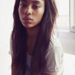 Beautiful black girl has long hair