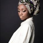 Beautiful black woman wears a nice headscarf