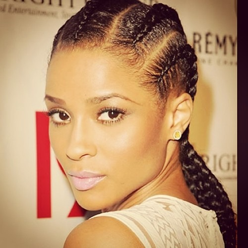 Black woman has nice hairstyle with french braids