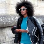 Fashion streetwear black girl has natural hairstyle