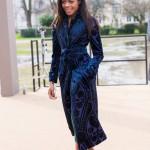 Naomie Harris wears a wonderful blue coat