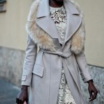 Alek Wek wears a very nice coat and dress