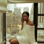 Naomi Campbell wears just a wonderfull white pullover