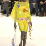 Fashion Alek Wek wears a light yellow dress