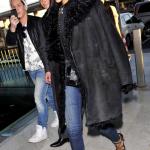 Rihanna leaving Paris wears a nice black coat