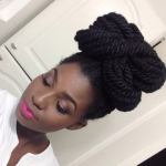 Beautiful senegalese twists hairstyle like a big bun