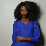 Straight natural hair and nice blue pullover