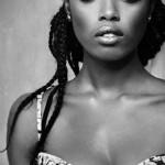 Beautiful Julia Daka with braids in black&white
