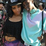 Fashion streetwear style, piercing, tattoo and hairstyle with big braids