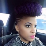 Amazing hairstyle with purple braids