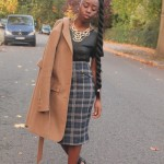 Skirt, coat and hairstyle with long big twist
