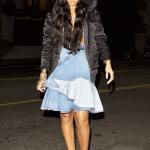 Fashion Rihanna wears Givenchy skirt, Isabel Marant jacket, Manolo Blahnik boots. Long black hair.