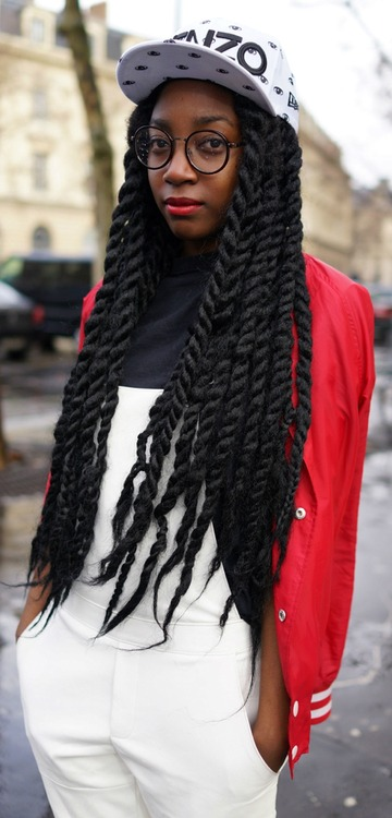 Extraordinary big long twists hairstyle and streetwear fashion style