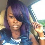 Blue, purple, wavy hairstyle