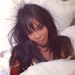 Beautiful Naomi Campbell in her bed