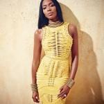 Naomi Campbell wearing a wonderful yellow dress