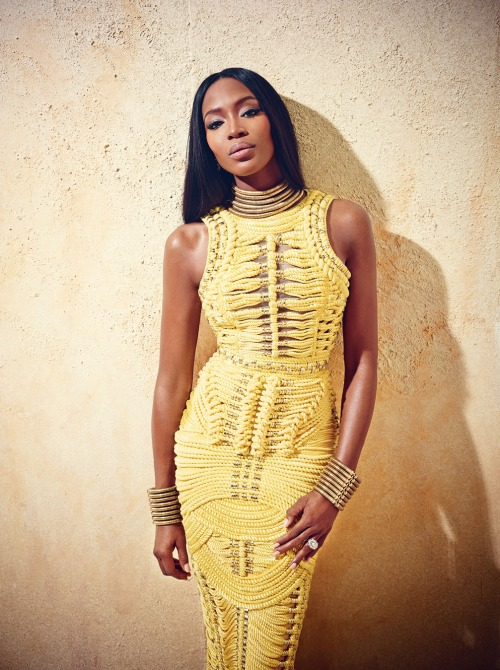 Naomi Campbell wearing a wonderful yellow dress