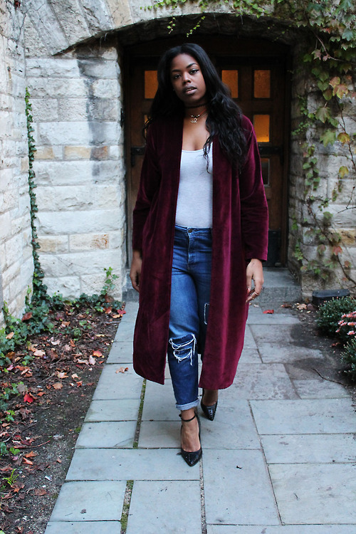 Long burgundy coat and jeans
