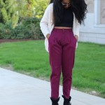 Purple pants and gorgeous natural hairstyle