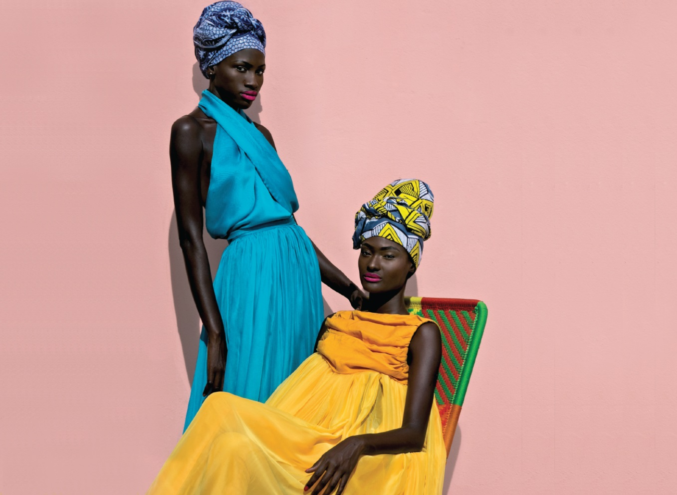 African fashion : colored dresses and headscarves