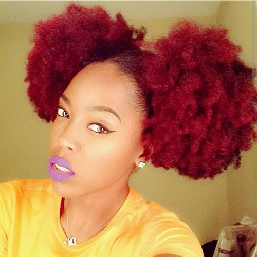 Red natural hairstyle with 2 big buns