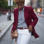 Burgundy jacket, white jeans and stripped shirt