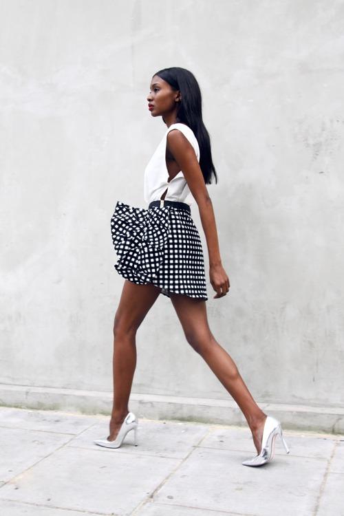 Smooth hair, short skirt and heels