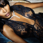 Naomi Campbell wears nice black lace dress and necklace