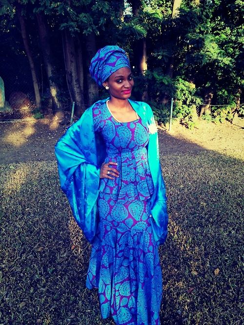 African fashion : blue dress and headscarf