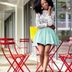Natural hairstyle and short skirt