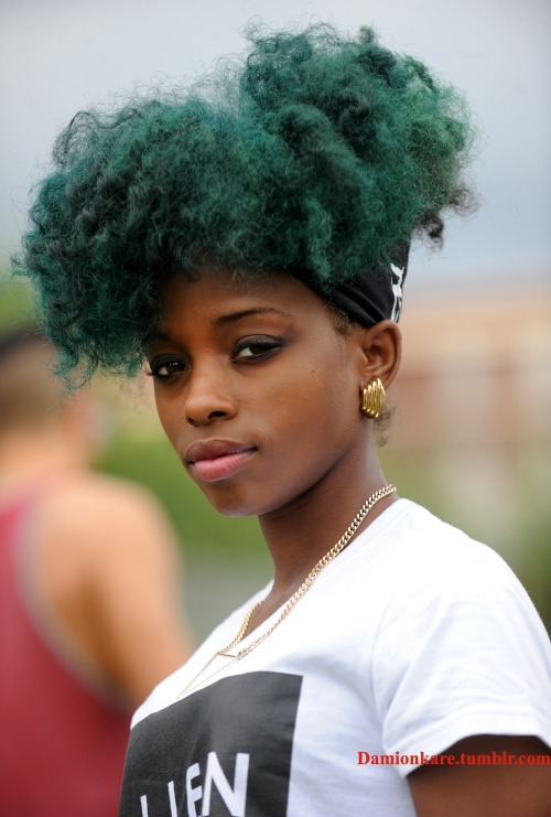 Green natural hair and headscarf