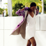 Nice coat with purple patterns and white short dress
