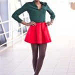 Green shirt and short red skirt