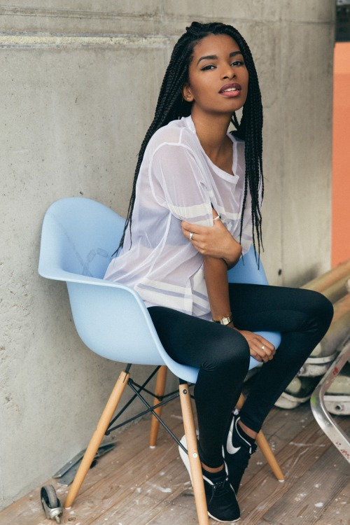 Nice long fine braids hairstyle, white shirt, black legging