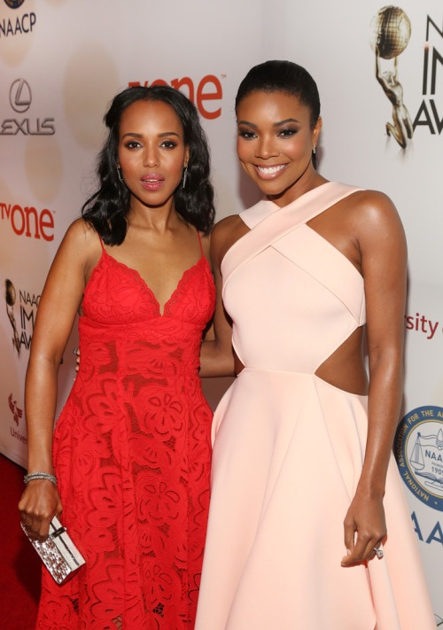 Kerry Washington and Gabrielle Union attend the 46th NAACP Image Awards