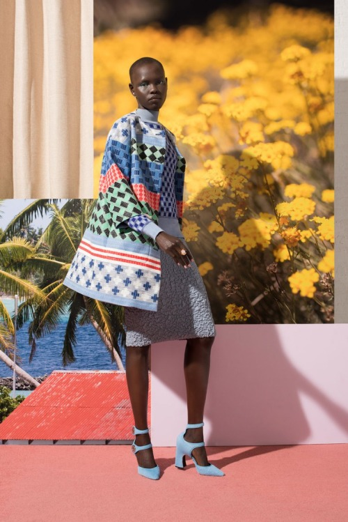 Grace Bol in W magazine. Fashion light blue clothes.