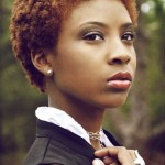 Afro short red natural hairstyle