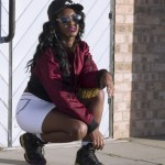 Streetwear style with cap, white skirt, glasses, jacket and sneackers