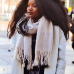 Amazing gorgeous natural hairstyle, whiet scarf and coat