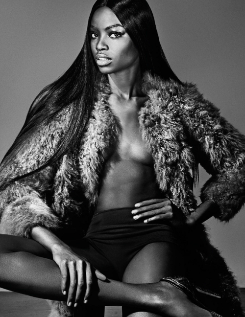 Maria Borges long smooth hair and fur jacket