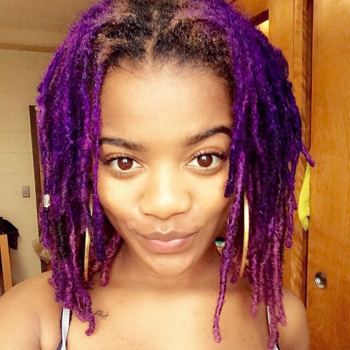 Strange purple locs hairstyle