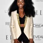 Teyonah Parris gorgeous hairstyles, black shorts and nice jacket