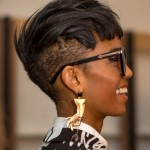 Short hairstyle for summer with sunglasses