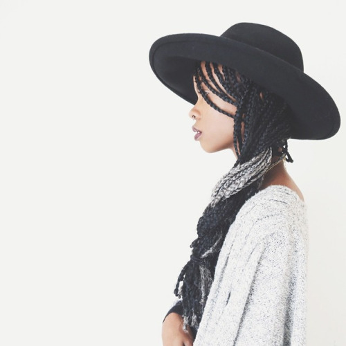 Nice long braids hairstyle with black hat