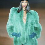 Naomi Campbell wears green fur coat at Yves Saint Laurent spring/summer 2002