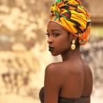 African fashion, nice colored headscarf, black lipstick...