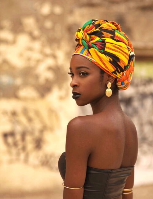 African fashion, nice colored headscarf, black lipstick...