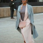 Street style, double coats, pink sunglasses and amazing locs hairstyle